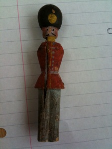 A toy soldier found under the floorboards in Melrose. Perhaps this is one of the soldiers young Willie played with?