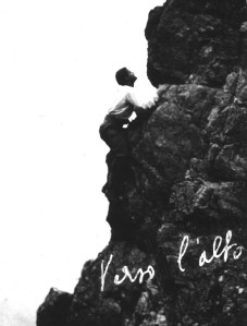 Blessed Pier Giorgio climbing a mountain, one month before his sudden death at the age of 24